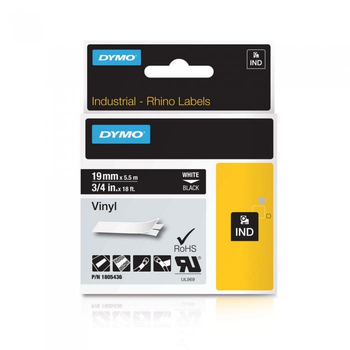 Etichete industriale autocolante, DYMO ID1 vinil, 19mm x 5.5m, alb/negru, 1805436-big