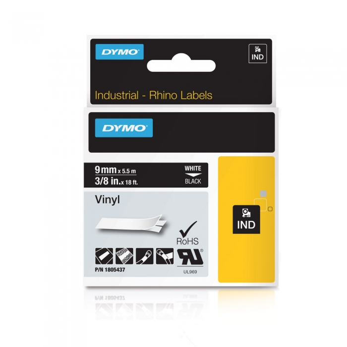 DYMO industrial ID1, All purpose vinyl labels, 9mm x 5.5m, white on black, 1805437-big