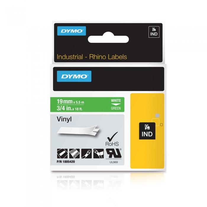 Etichete industriale autocolante, DYMO ID1 vinil, 19mm x 5.5m, alb/verde, 1805420-big