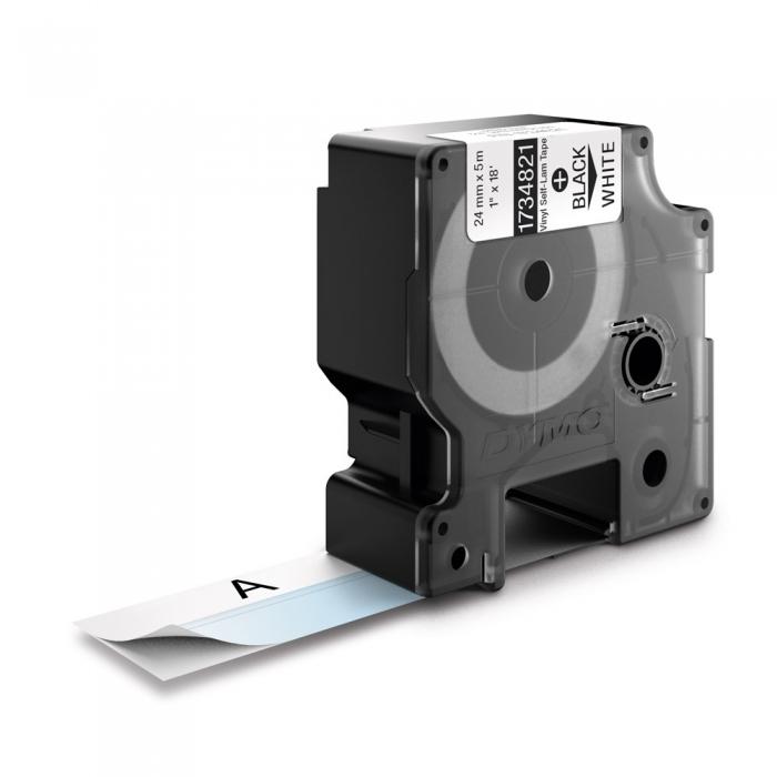 Etichete industriale autocolante, DYMO ID1 vinil autolaminante, 24mm x 5.5m, negru/alb, 1734821-big