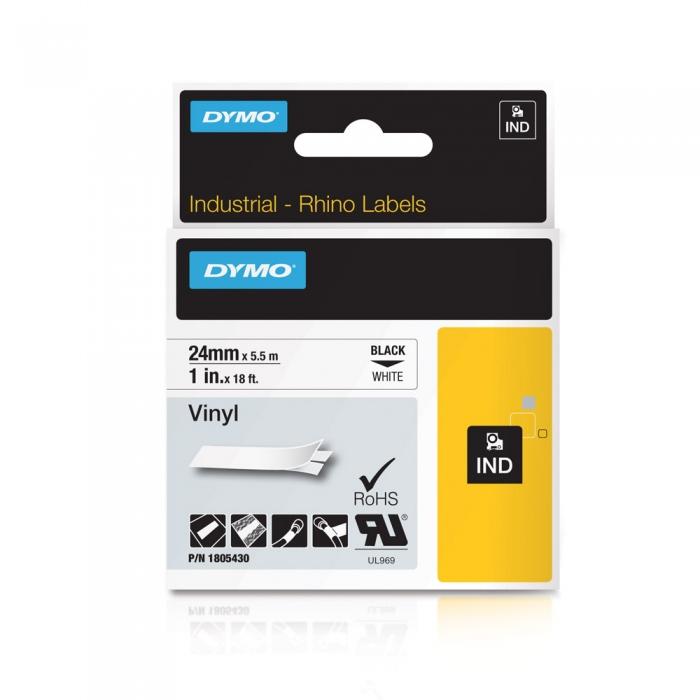 Etichete industriale autocolante, DYMO ID1 vinil, 24mm x 5.5m, negru/alb, 1805430-big