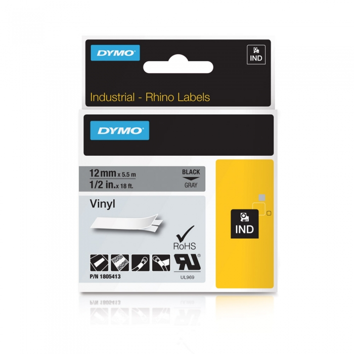 DYMO industrial, All purpose vinyl labels, 12mm x 5.5m, black on gray, 1805413-big