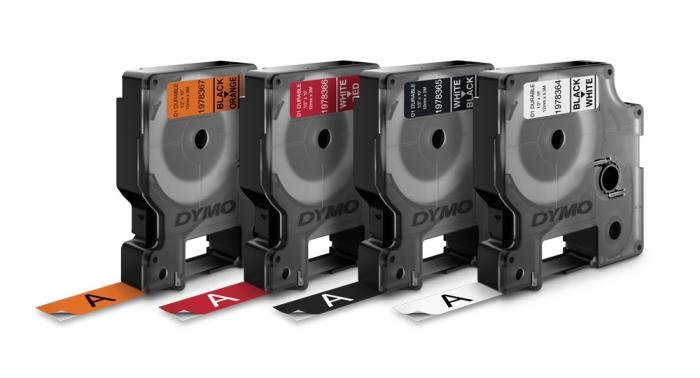 Etichete autocolante industriale, DYMO LabelManager Durable, 12mm x 3m, negru/orange, 1978367-big