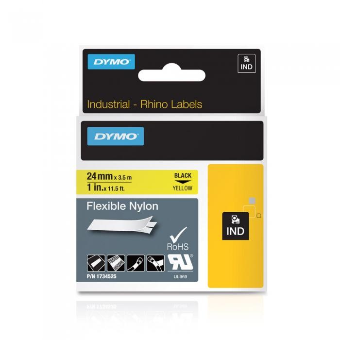 Etichete industriale autocolante, DYMO ID1, nailon flexibil, 24mm x 3.5m, negru/galben, 1734525 S0773850-big