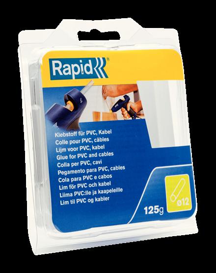 Batoane lipici Rapid Ø12mmx94mm, PVC/Cabluri, 125g, blister-big