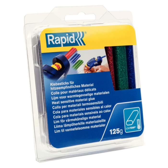 Rapid Oval Low temp Glue Stick Coloured, 9mmx94mm, color adesiv glitter red, green and blue, 125g, 40108462-big