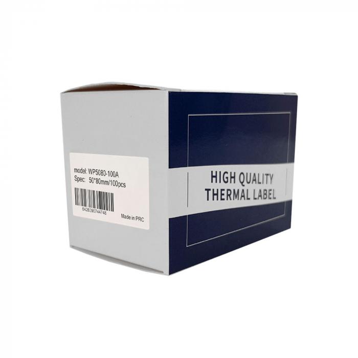 Etichete termice scolare mari 50 x 80mm BUS, poliester alb, imprimate cu model Autobuz, adeviz permanent, 1 rola, 100 etichete/rola, WP5080-100A pentru imprimantele M110 si M200-big