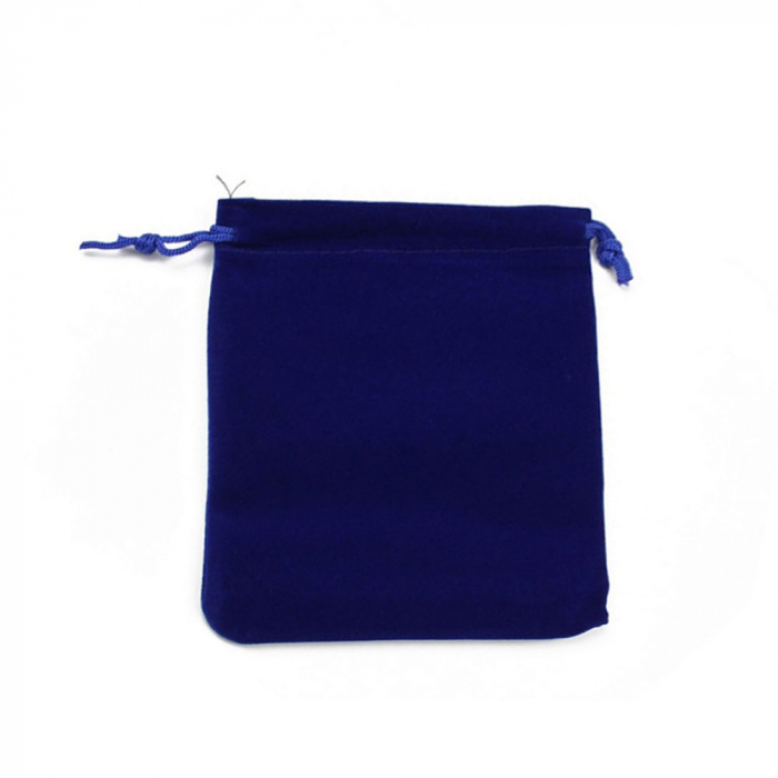Saculet textil pentru cadouri din catifea cu snur, albastru, 12 x 14 cm-big