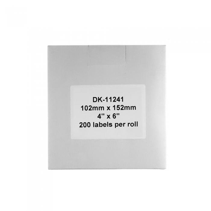 Etichete termice autocolante transport, compatibile, Brother DK-11241, hartie alba, permanente, 102mmx152mm, 200 etichete/rola, suport din plastic inclus DK11241-C-big
