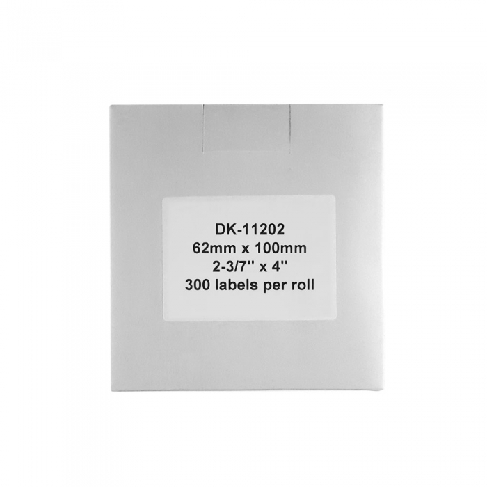Etichete termice autocolante de transport compatibile, Brother DK-11202, hartie alba, permanente, 62mmx100mm, 300 etichete/rola, suport din plastic inclus DK11202-C-big