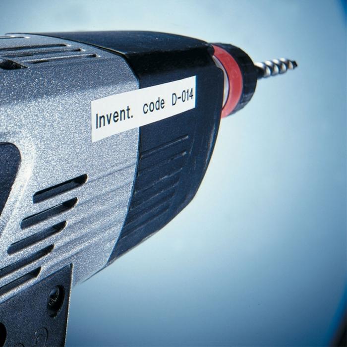 Etichete autocolante compatibile, adeziv puternic, Brother TZe-S241, 18mm x 8m, negru/alb, TZe-S241-C-big