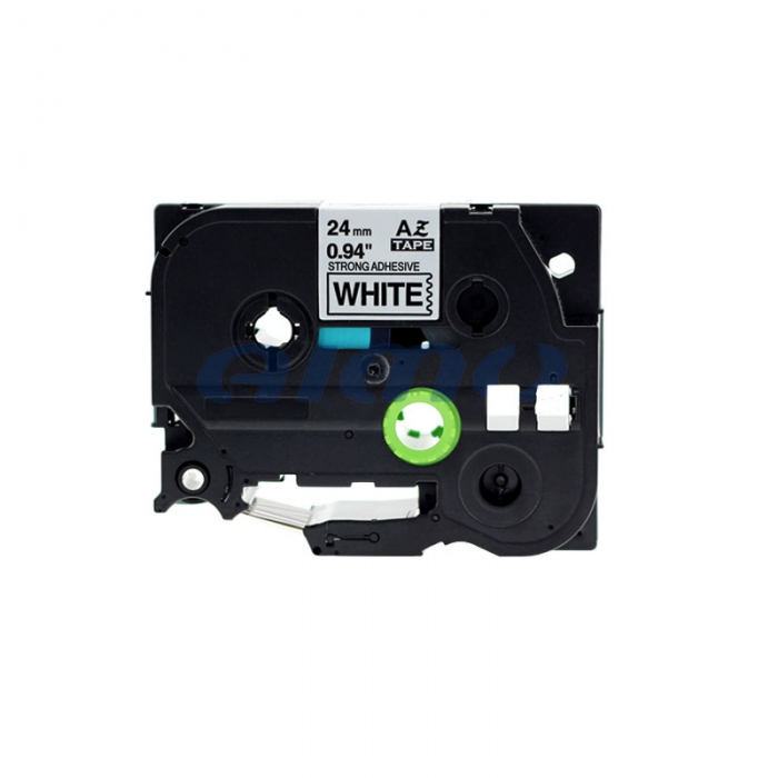 Etichete autocolante compatibile, adeziv puternic, Brother TZe-S251, 24mm x 8m, negru/alb, TZe-S251-C-big