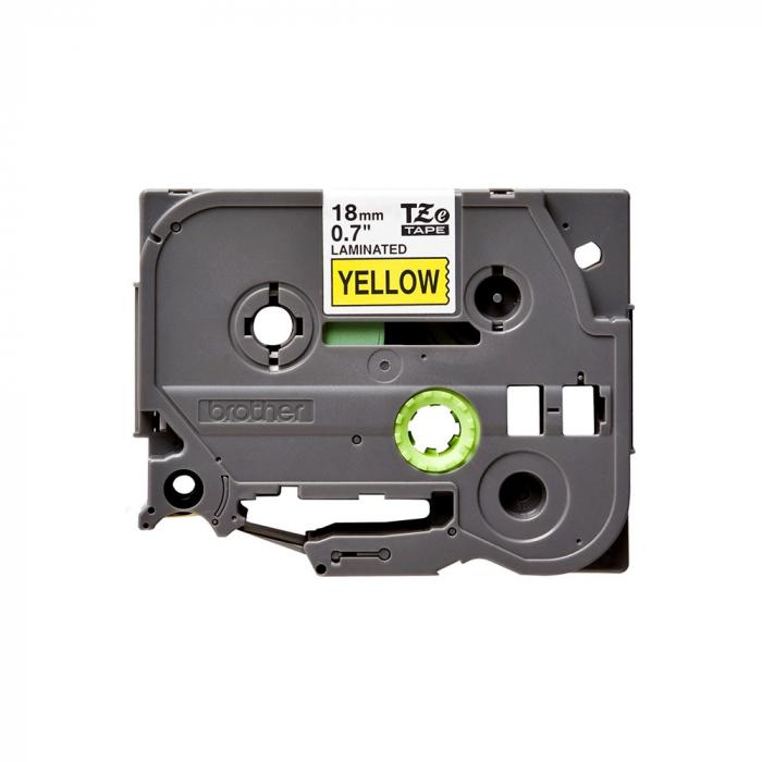 Brother TZE641 etichete originale laminate 18mm x 8m, negru pe galben, P-Touch TZe-641-big