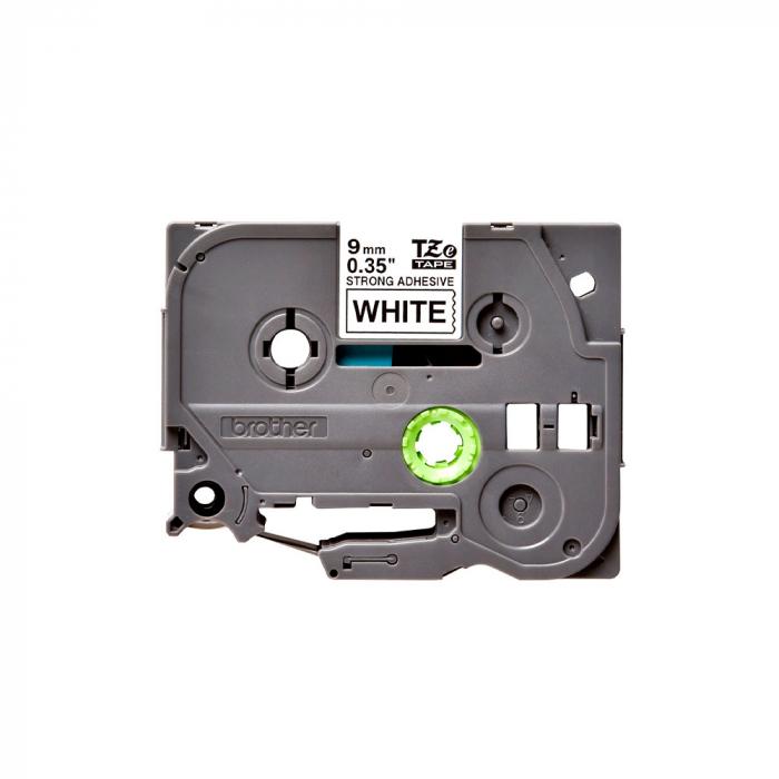 Brother TZES221 etichete originale adeziv puternic 9mm x 8m, negru pe alb, PTouch laminate, utilizare la interior sau exterior, rezistenta la apa TZe-S221-big