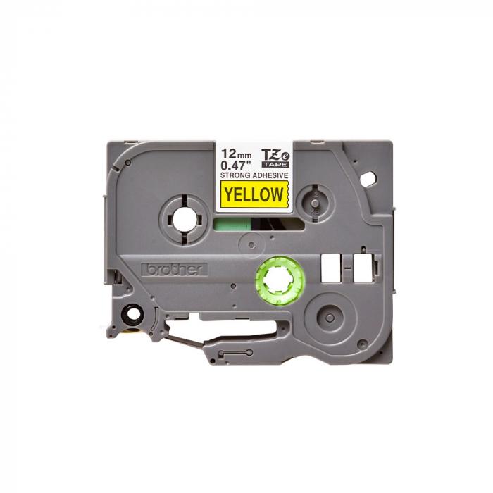 Brother TZES631 etichete originale adeziv puternic 12mm x 8m, negru pe galben, PTouch laminate, utilizare la interior sau exterior, rezistenta la apa TZe-S631-big