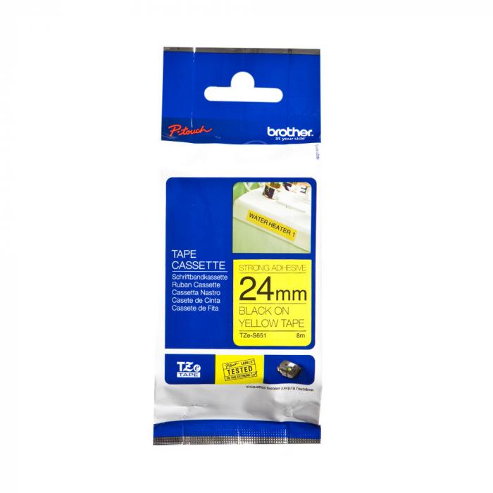 Brother TZES651 etichete originale adeziv puternic 24mm x 8m, negru pe galben, PTouch laminate, utilizare la interior sau exterior, rezistenta la apa TZe-S651-big