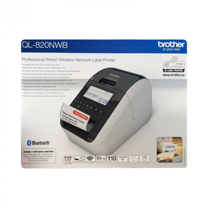 Brother QL-820NWB, imprimanta termica profesionala etichete, ultra flexibila, optiuni multiple conectivitate WLAN, Bluetooth 2.1, USB 2.0, Afisaj LCD, Cutter automat, printare negru si rosu-big