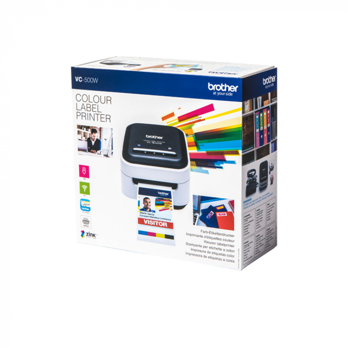Brother VC-500W imprimanta termica multifunctionala compacta pentru etichete full color, conectare Wireless sau USB, tehnologie printare ZINK Zero Ink, 313 DPI, App gratuit-big