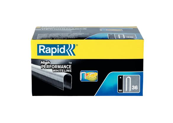 Capse Rapid 36/14 mm, plastifiate alb, divergente, 1.000/ cutie-big