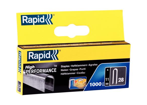 Capse Rapid 28/11 mm, galvanizate, divergente, 1.000/ cutie-big