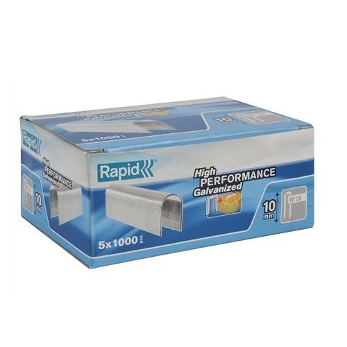 Capse Rapid 28/9 mm, galvanizate alb, divergente, 5x1.000/ cutie-big