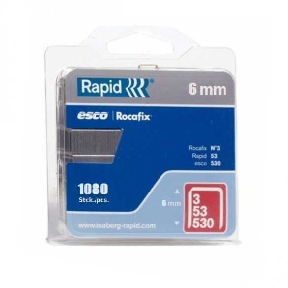 Capse Rapid 53/6 mm, galvanizate, 1.080/ blister-big
