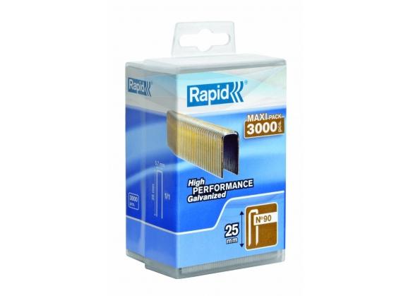 Capse Rapid 90/25 mm, galvanizate, cu rasina, 3.000/ cutie polipropilena-big