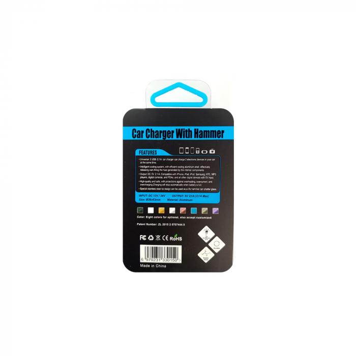 Adaptor priza bricheta auto 2 x USB Smart Charging, sistem spargere geam in caz de pericol-big