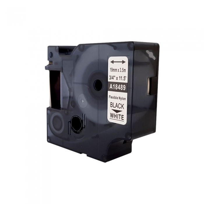 Etichete industriale autocolante compatibile nailon flexibil, 19mm x 3.5m, negru/alb, 18489 S0718120-C-big