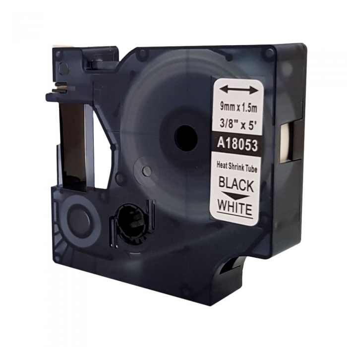 Etichete tub termocontractibil compatibil, DYMO ID1, 9mm x 1.5m, negru/alb, 18053 S0718280-C-big