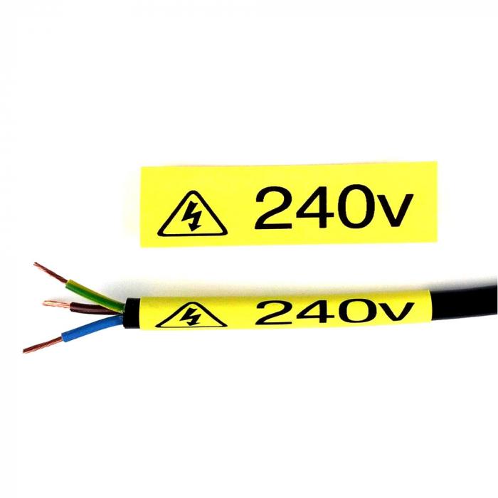 Etichete compatibile tub termocontractibil, DYMO ID1, 12mm x 1.5m, negru/galben, 18056-big