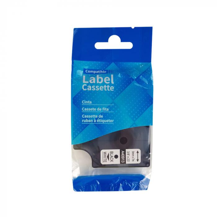 Etichete autocolante compatibile, 9mm x 7m, negru/alb, 40913 S0720680-C-big