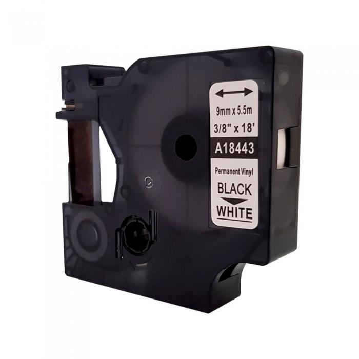 Etichete industriale autocolante compatibile vinil, 9mm x 5.5m, negru/alb, S0718580-C 18443-big