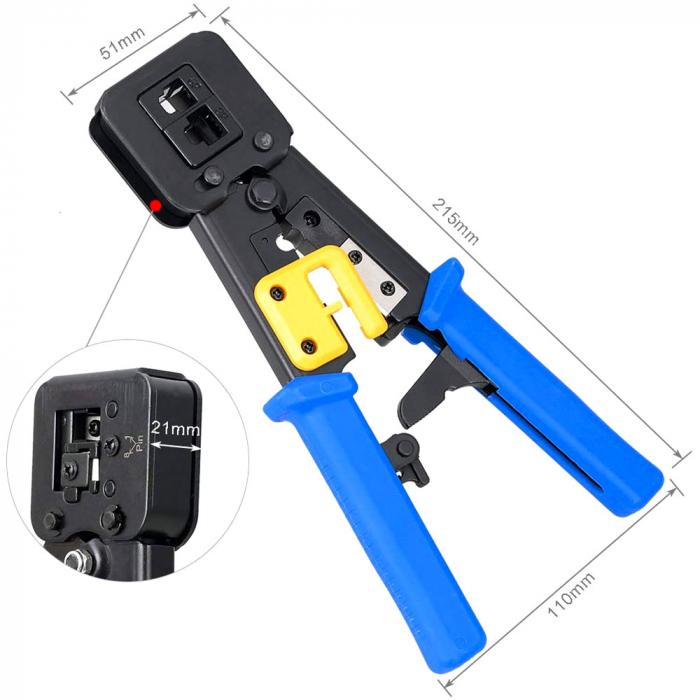 Cleste sertizat mufe 6P4C/RJ11 6P6C/RJ12 8P8C/RJ45 Pass Through, conectori cabluri de retea si telefonie NAR0855-big