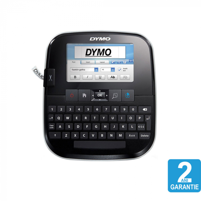 Dymo 500TS Touch Screen Label Maker, QWERTY, with PC/Mac Connection and 1 professional label box, 12 mmx7m, black/white, S0946410, 45013-big