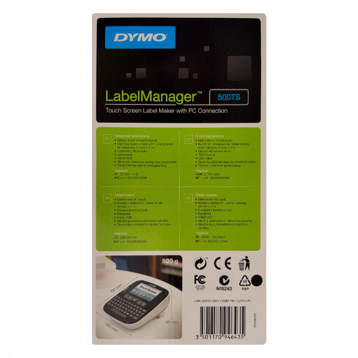 Aparat de etichetat (imprimanta etichete) Dymo LabelManager 500TS, QWERTZ, (touchscreen), S0946440, 946440-big