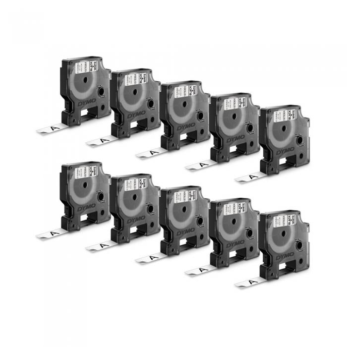 Etichete autocolante, DYMO LabelManager D1, 12mm x 7m, negru/alb, 10 buc/set, 2093097  45013-big
