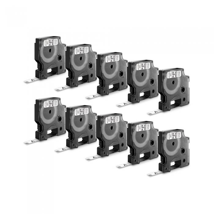 Etichete autocolante, DYMO LabelManager D1, 6mm x 7m, negru/alb, 10 buc/set, 43613 DY43613 S0720780-big