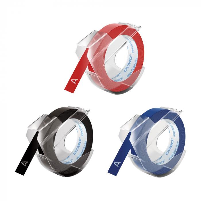 Etichete plastic embosabile DYMO Omega, 9mmx3m, asortat, 3buc/set, S0847750-big
