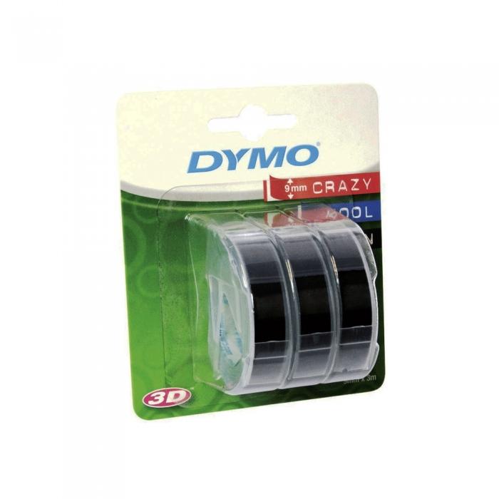 Etichete plastic embosabile DYMO Omega, 9mmx3m, negru, 3buc/set, S0847730-big