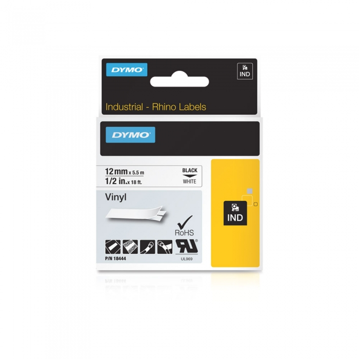 DYMO industrial, All purpose vinyl labels, 12mm x 5.5m, black on white, 18444-big