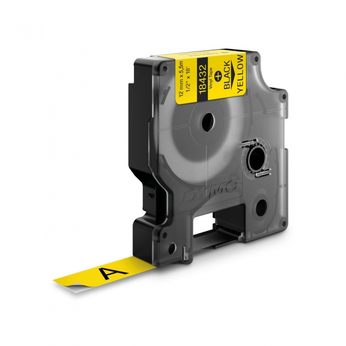 Etichete industriale autocolante, DYMO ID1 vinil, 12mm x 5.5m, negru/galben x 5 buc, 18432-big