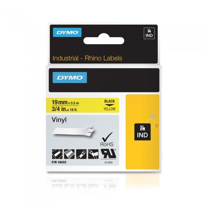 Etichete industriale autocolante, DYMO ID1 vinil, 19mm x 5.5m, negru/galben x 5 buc, 18433 S0718470-big