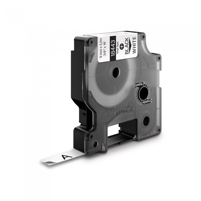 Etichete industriale autocolante, DYMO ID1 vinil, 9mm x 5.5m, negru/alb, 18443 S0718580-big