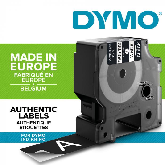Etichete industriale autocolante, DYMO ID1 vinil, 24mm x 5.5m, alb/negru, 1805432-big
