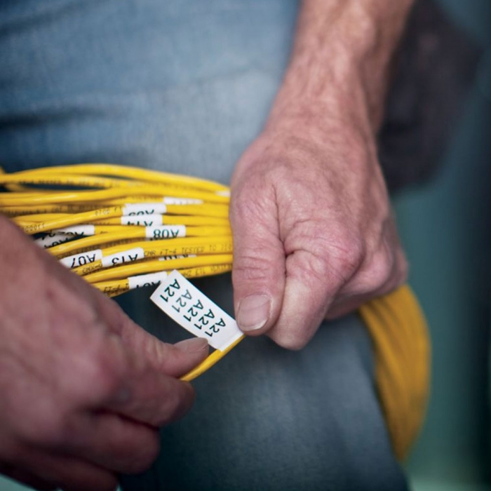 Etichete industriale autocolante, DYMO ID1, nailon flexibil, 12mm x 3.5m, negru/galben x 5 buc, 18490-big