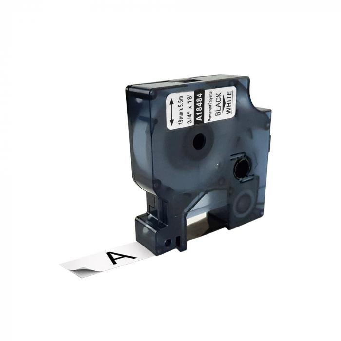 Etichete industriale autocolante compatibile, DYMO ID1, poliester permanent, 19mm x 5.5m, negru/alb, 18484 18484-C-big