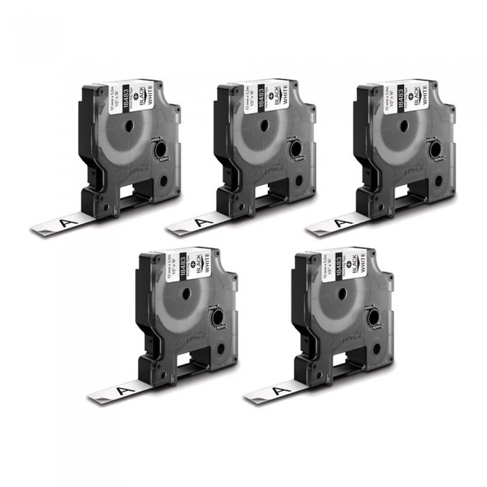 Etichete industriale autocolante, DYMO ID1, poliester permanent, 12mm x 5.5m, negru/alb x 5 buc, 18483 S0718210-big