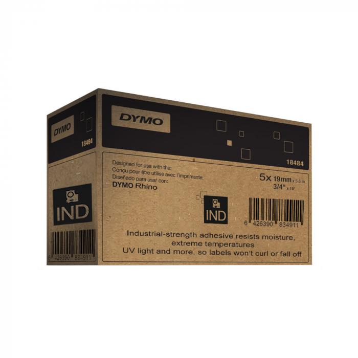 Etichete industriale autocolante, DYMO ID1, poliester permanent, 19mm x 5.5m, negru/alb x 5 buc, 18484 S0718220-big