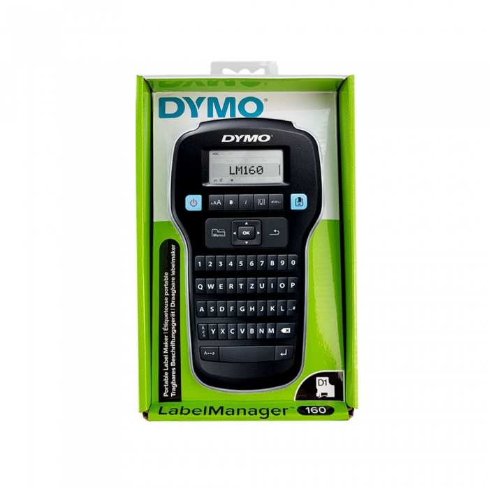 DYMO LabelManager 160P Label Maker, QWERTY and 3 original Dymo tapes, red, yellow and blue-big
